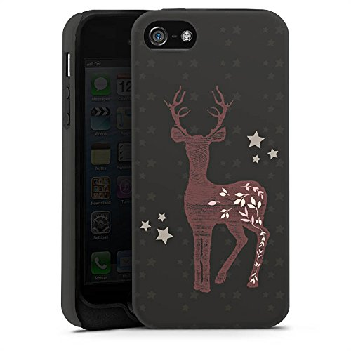 Apple iPhone 5 Housse Étui Silicone Coque Protection Chevreuil Cerf Motif Cas Tough terne