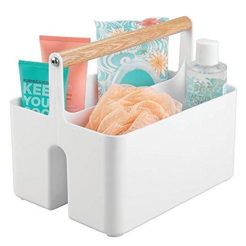 mDesign Cajas organizadoras para baño – Cajas de plástico con asas de...