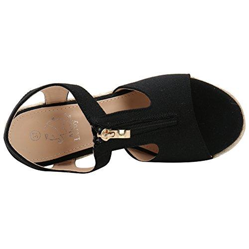Alexis Leroy Sandali espadrillas zeppa con cinturino alla caviglia Nero