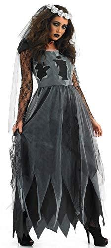 Zombie Übergröße Kostüm Für Erwachsenen - Fancy Me Damen schwarz Zombie Leichnam lang Länge Braut Halloween Kostüm Kleid Outfit 8-30 Übergröße - Schwarz, 28-30