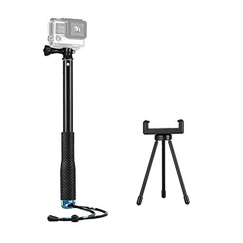 Galleria fotografica Tekcam waterproof Action Camera 109,2cm palmare selfie stick con treppiede monopiede supporto e il cellulare supporto a clip per GoPro Hero 6/5/Xiaomi Yi 4K/Akaso EK7000sport Action Camera smartphones