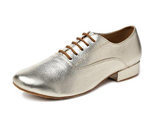 Minitoo GL208Solid Pelle Uomo Latin Ballroom sociale professionale scarpe da ballo, oro (Gold), 42.5