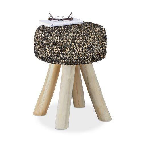 Relaxdays Teakholz Hocker, 120 kg belastbarer Sitzhocker, runder Polsterhocker HxBxT: 48 x 38 x 38 cm, schwarz-beige - Runde Garderobe