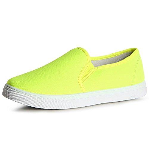 topschuhe24, Ballerine donna neon giallo
