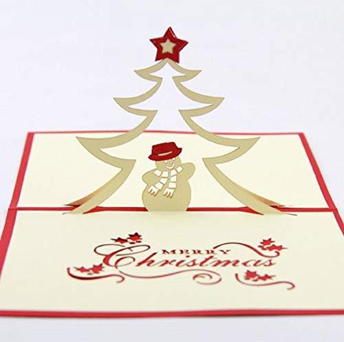 BC Worldwide Ltd handgefertigte 3D Pop-up-Weihnachtskarte Frohe Weihnachten Schneemann mit Hut Schal Nordstern immergrünen Nadelbaum Baum Grußkarte