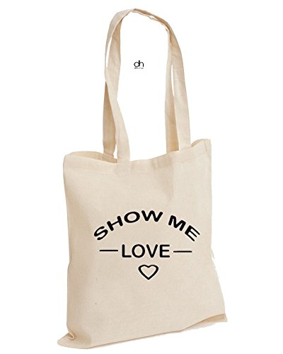 D&H , Borsa da spiaggia , Natural (beige) - DC101COTTONTOTE-LOVE2 Natural