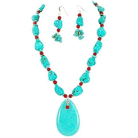 002magnesita turquesa y rojo coral con Toggle Largo Collar & pendientes Set 19