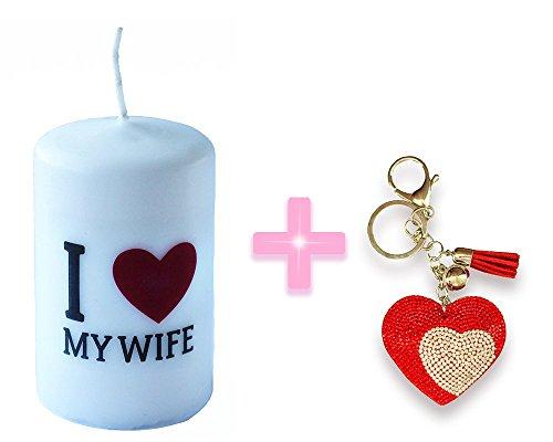 I Love My Wife candela Dimensioni 6cm x 10cm + color oro con strass Big Heart portachiavi ciondolo pendente di cristallo della borsa portachiavi regalo