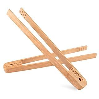 Ganz natürlicher Bambus Toast-Zange: 100 % Natürlich, Umweltfreundlich, Nicht Toxisch und Sicher 30 cm Bambus-Zange, Verbrennen Sie Nicht Ihre Finger auf dem Toaster! 2er Packung