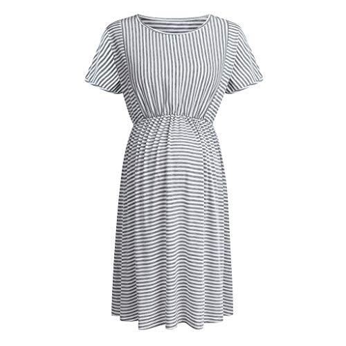 Bfmyxgs🍓Schwangere gestreiftes Kleid lose Schwangere hohe Taille bequemes Kleid