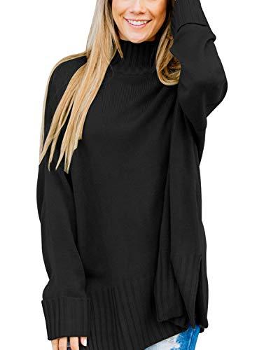 Aleumdr Maglione Donna Colletto Alto Maglioni Donna Invernali Spacco Laterale Maglione Lungo Donna Dolcevita Solido Colore Maglione Collo Alto Donna
