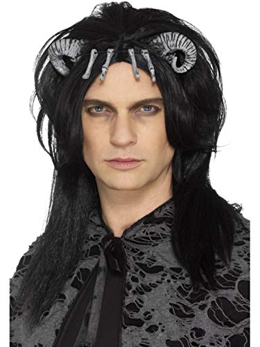 Dämonen Kreatur Teufel Devil Perücke mit Hörnern und Knochen, Kostüm Accessoires Zubehör, perfekt für Halloween Karneval und Fasching, Schwarz ()