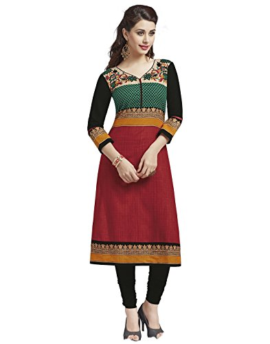 Jevi Prints Women's Dress Material (Saheli-1215_Red_Free Size)