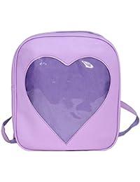 Candy PU mochila de cuero impermeable [Lindo] [Transparente] Mochila de la bolsa de la escuela para la niña de la escuela informal Bolso