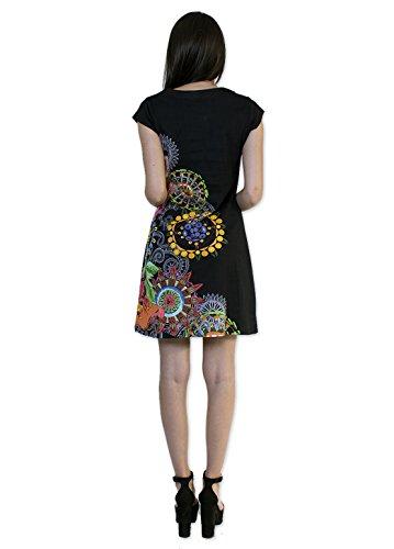 Coton Du Monde - Robe CINDY 2 Noir Multicolore