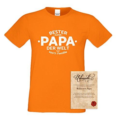 Geschenk Idee, Geburtstagsgeschenk Vater T-Shirt Funshirt Bester Papa der Welt zum Vatertag, Geburtstag auch in Übergröße Farbe: orange Orange