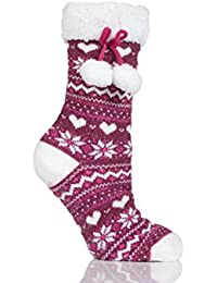 Ladies 1 Pair Totes Fleece Lined Fairisle Slipper Socks with Tassle