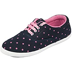 Asian shoes RL-23 Navy Blue Pink Canvas Women Shoes 7UK/Indian