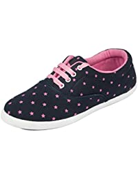 Asian Shoes Rl-23 Navy Blue Pink Canvas Women Casual Shoes 6Uk/Indian