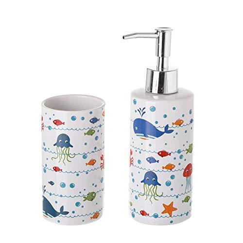 LOLAhome Dispensador y portacepillos de baño de cerámica Infantil Azules