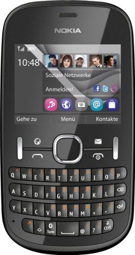 Nokia Nokia Asha 201 Handy (6,1 cm (2,4 Zoll) Display, 2 Megapixel Kamera, QWERTZ-Tastatur) graphite