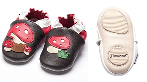 Jinwood - mushroom brown - mini shoes - Pilze - Hausschuhe - Lederpuschen - Krabbelschuhe - by amsomo Brown