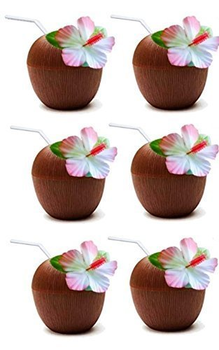 (Quickdraw 6 x Kokosnuss Tassen mit Stroh Hawaii Strand Tropische Luau Hula Tiki Party)