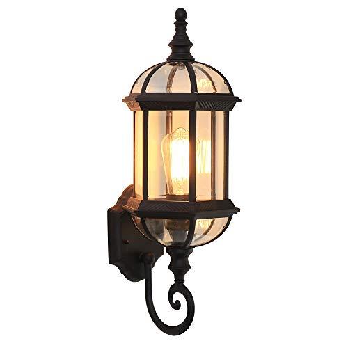 Rishx Wasserdichte antike Metallgarten-Wand-Licht-Befestigung im Freien regendichte Glas-Landhaus-Wand-Lampen-LED 27 Aluminiumwand-Leuchter-Balkon-Gang-Rasen-Außenbeleuchtung (Color : Black) -