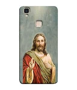Printvisa Designer Back Cover for Vivo V3 (Christianity Catholicism Christian Redeem Catholic Redeemer Beautiful Abater)