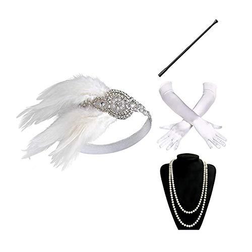 Epinki Damen 1920er Jahre Zubehörset Flapper Kostüm Feder Retro Stirnband/Perlenkette/Zigarettenhalter/Handschuhe 20er Jahre Halloween Kostümzubehör Weiß (Einfach Männliche Halloween-kostüme Super)