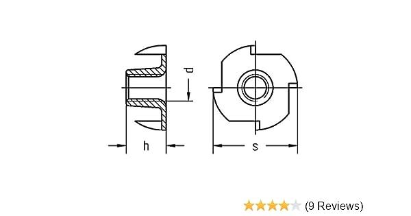 galv M 4 x 8 verzinkt VE:8000St/ück Einschlagmuttern mit 4 Einschlagspitzen