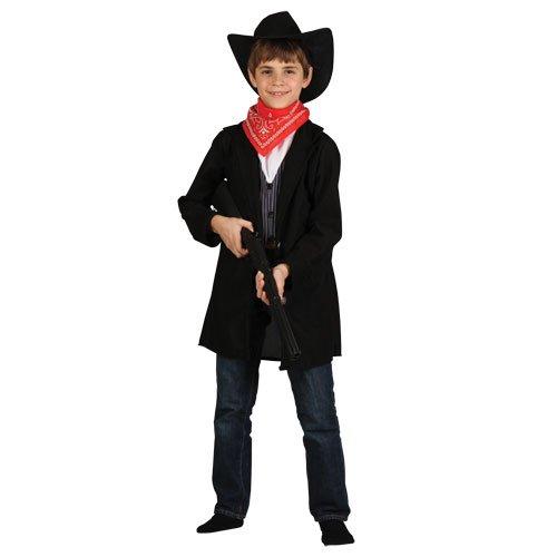 Kinder Cowboy-Kostüm. Medium 5-7 Jahre. Duster Mantel, Weste mit angenähtem Hemd vorne, Bandana und Hut.