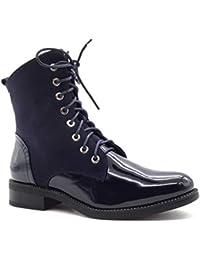 39e21bf61be10 Angkorly - Chaussure Mode Bottine Rangers Motard Rock Femme Lacets Verni  Talon Bloc 3.5 CM -