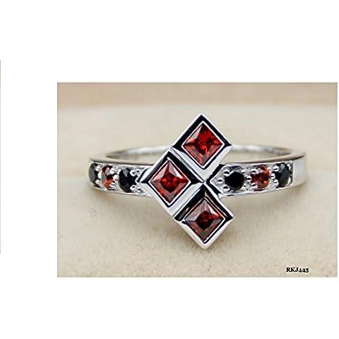 Batman Harley Quinn Joker Arancione Granato Principessa rotondo nero finto diamante argento sterling 925matrimonio fidanzamento Cocktail fumetto DC anello, misura R