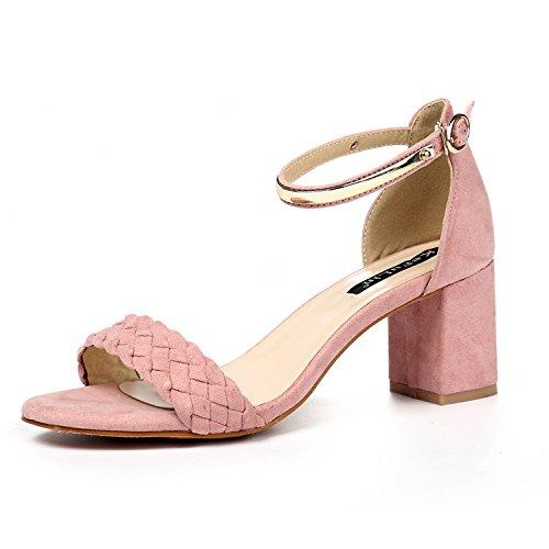 XY&GKGrob die Sandalen Frauen Sommer Wort Stil Buckle Toe mit All-Match Sandalen, komfortabel und schön 37 Pink