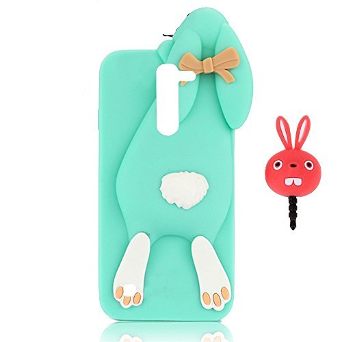 Vandot LG K10 Coque de Protection Etui Transparent Antidérapant Pour LG K10 Etui Protection Dorsale Étui Slim Invisible Housse Cover Case en TPU Gel Silicone Hull Shell-Blanc Lapin-Vert