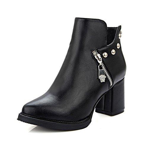 AllhqFashion Damen Hoher Absatz Rein Knöchel Hohe Stiefel mit Metallisch, Aprikosen Farbe, 39