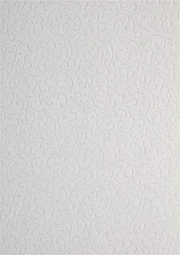 5 Blatt Weiß Dekorpapier, geprägt- Spitzenmuster mit Samt-Haptik, 180x250mm, handgemacht, 150g, orientalischer Look, ideal für Einladungskarten, Hochzeit, Taufe, Weihnachten, Basteln, Dekorationen -