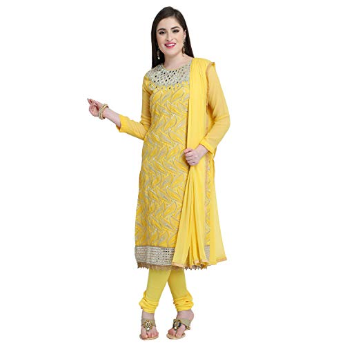 Monika Silk Mill Women\'s Latest Hit Yellow Color Embroidered Special Festival Collection Wedding Collection Party wear Occasional wear Salwar Suit Dress materials