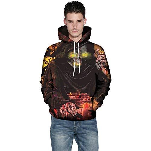 KPILP Halloween Mode Männer Frauen Modus Übergröße 3D Print Langarm Paare Hoodies Top Bluse Hemden Outwear(C-schwarz, M