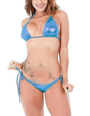 Glus Glossy Satin String Bikini Set ,Size-Free