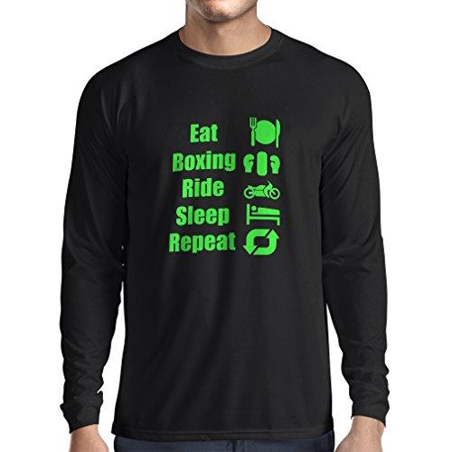 Langarm Herren t shirts Eat Sleep Boxing Repeat - para combatientes y jinetes Schwarz Grün