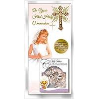 Fhc prima comunione di ragazza oro croce in metallo e rosa comunione rosario effetto perla a forma di cuore ~ ~ comunione - Cuore Rosario Croce