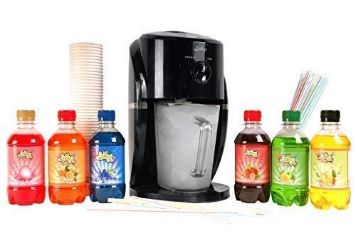 Lickleys Schnee Konus Eis Rasierer/Eisgetränk Hersteller Macht Home Eis Getränke, Präsentiert mit Aromatisiert Sirupe - Black machine with 6 Flavours (Machine 220v Ice Maker)