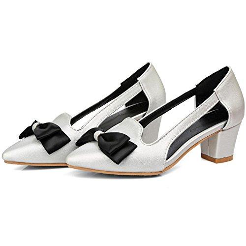 COOLCEPT Femmes Mode Slip On Escarpins Bout Ferme Bloc Chaussures With Bowknot Argent