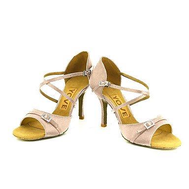 Scarpe da ballo-Personalizzabile-Da donna-Balli latino-americani / Salsa-Tacco su misura-Raso-Nero / Blu / Giallo / Rosa / Viola / Rosso almond