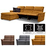 Cavadore Chalsay Couchgarnitur mit Longchair links inkl. Relaxfunktion / mit Federkern / Eckcouch im modernen Design / Größe: 252 x 94 x 177 cm (BxHxT) / Farbe: Hellbraun (mustard)