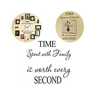 VORCOOL Family Wall Decals Time Spent with Family Is Worth Every Second Vinyl Wall Decal Home Decor Wall Mural Decals