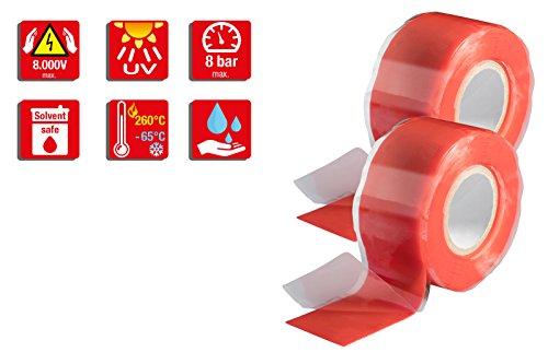 Poppstar 2x 3m selbstverschweißendes Silikonband, Silikon Tape Reparaturband, Isolierband und Dichtungsband (Wasser, Luft), 25mm breit, rot