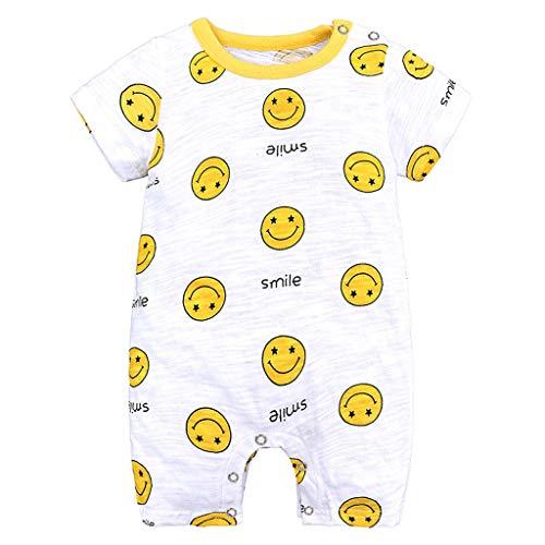 Allegorly Baby Strampler Jungen Mädchen Schlafanzug Baumwolle Karikaturdruck Kurze Ärmel Overalls Säugling Spielanzug Baby-Nachtwäsche Jumpsuit Outfit Bodys 0-18 Monate - Jungen 3 Stück Schlafanzüge